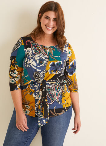 Tie Detail Printed Top, Blue,  spring summer 2020, 3/4 sleeves, patchwork print, jersey fabric, paisley
