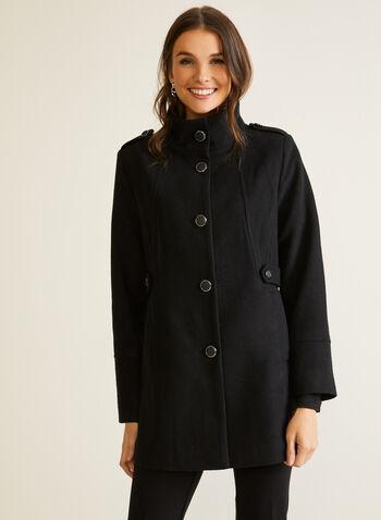 Manteau boutonné en molleton, Noir,  automne hiver 2020, manteau, laine, boutons, poches, molleton
