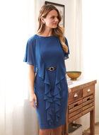 Joseph Ribkoff - Flounce Detail Capelet Dress, Blue