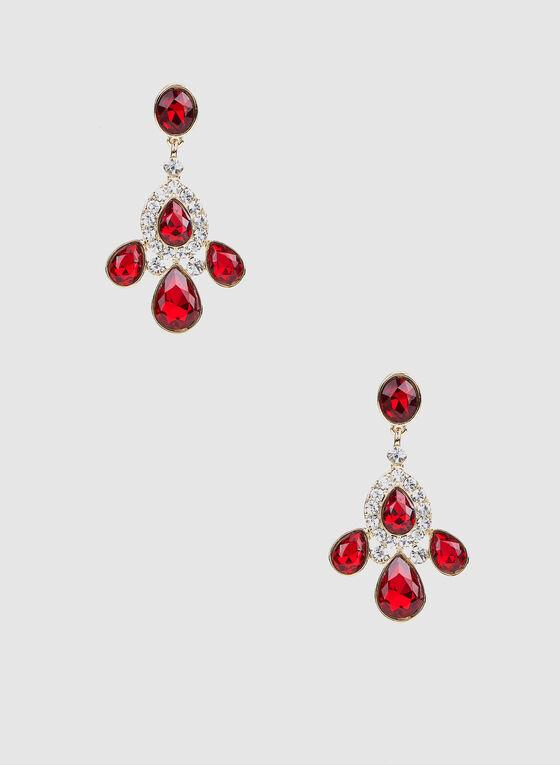 Rhinestone Embellished Teardrop Dangle Earrings, Red