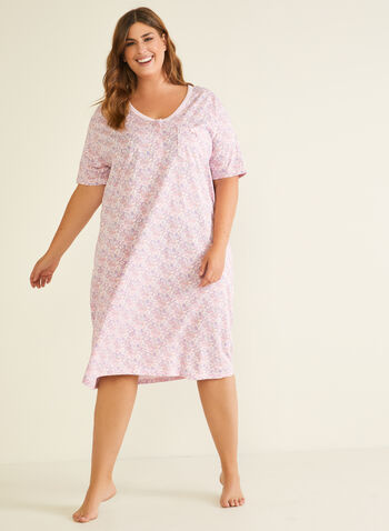 Floral Print Nightshirt, Pink,  pyjamas, night shirt, elbow sleeves, buttons, floral, fall winter 2020