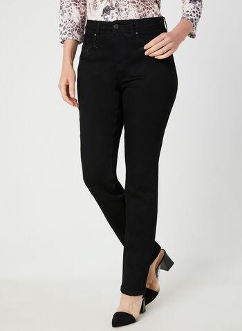 Jeans coupe signature à cristaux, Noir, hi-res,  jeans, coupe signature, jambe droite, cristaux, coton, automne hiver 2019