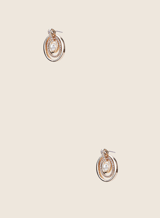 Triple Ring Dangle Earrings, Off White