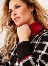 Cardigan carreauté en tricot contrastant, Noir, hi-res