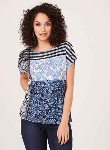Patchwork Print T-Shirt, Blue, hi-res