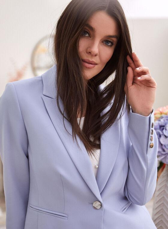 Notch Collar Single-Button Jacket, Blue
