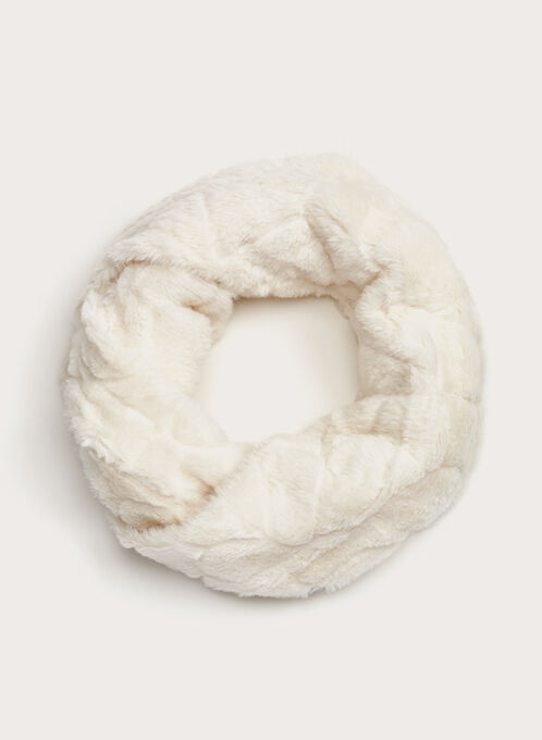 Faux Fur Tube Scarf, Off White, hi-res