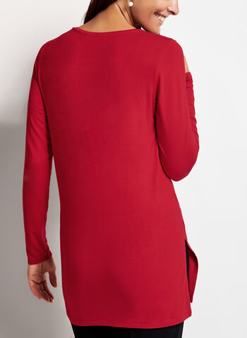 V-Neck Long Sleeve Top, Red, hi-res