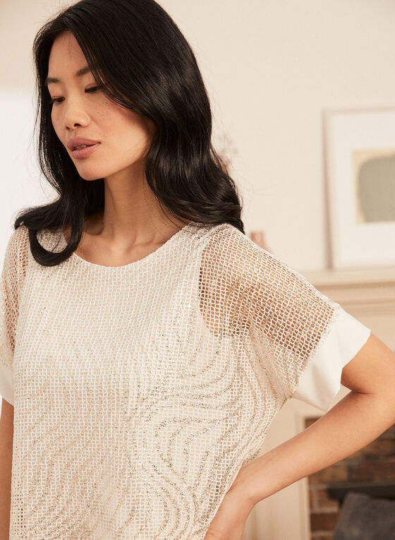 Double Layer Crochet Top, White