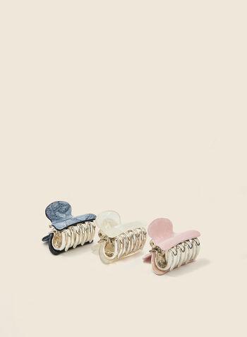 Set of 3 Hair Clips, Grey,  hair clip, set, mosaic, spring summer 2020