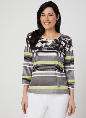 Stripe Print ¾ Sleeve Top, Blue, hi-res,  floral print, crystals, spring 2019