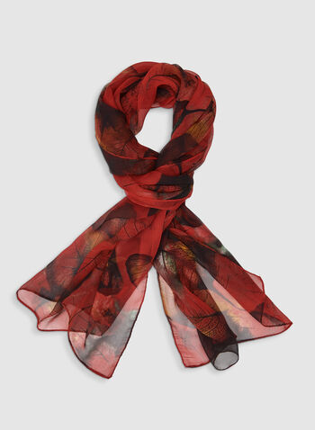 Foulard léger motif feuilles, Rouge,  foulard, léger, feuilles, mousseline, automne hiver 2019