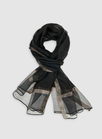 Metallic Trim Scarf, Black, hi-res
