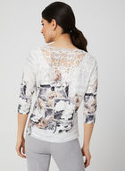 T-shirt à fleurs et dos en crochet, Noir, hi-res