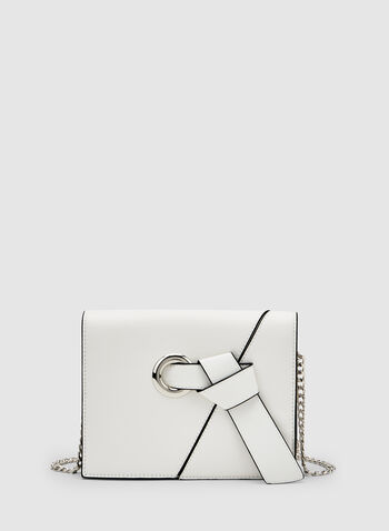 Knot Detail Crossbody Bag, White, hi-res,  grommet, faux leather, chain handle, spring 2019