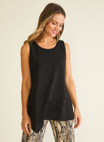 Sleeveless Tiered Blouse, Black,  top, sleeveless, tiered, crepe, spring summer 2020