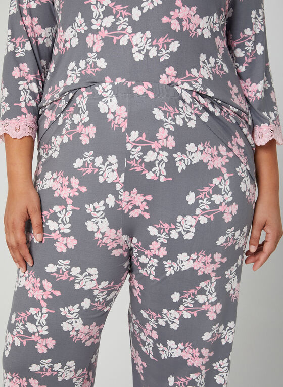 Pyjama deux pièces à motif floral , Bleu, hi-res