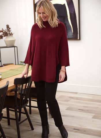 Cowl Neck Knit Poncho Sweater, Red,  fall winter 2020, poncho, cowl neck, sweater, knit, shawl collar, holiday