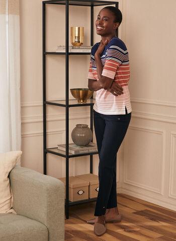 Stripe Print Elbow Sleeve Tee, Grey,  t-shirt, elbow sleeves, striped, scoop neck, cotton, spring summer 2020