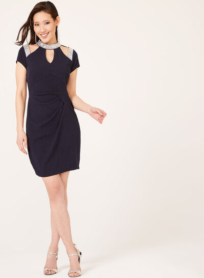 Marina - Crystal Encrusted Glitter Sheath Dress