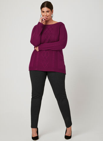 Boat Neck Knit Sweater, Pink, hi-res