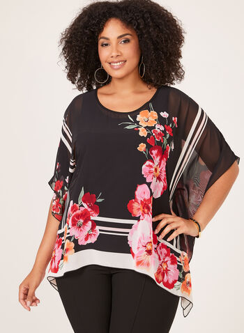 Floral Print Poncho Top, Black, hi-res