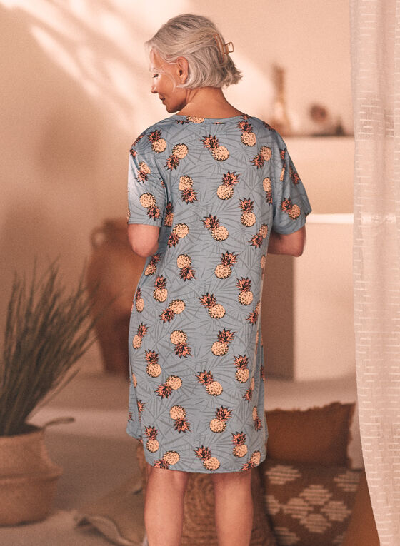 Printed V-Neck Nightgown, Green