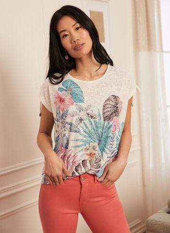T-shirt à motif exotique , Bleu,  printemps été 2021, t-shirt, imprimé, tropical, feuilles, fleurs, palmier, encolure ronde, cordons, épaules