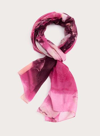 Bold Floral Print Scarf, Pink, hi-res