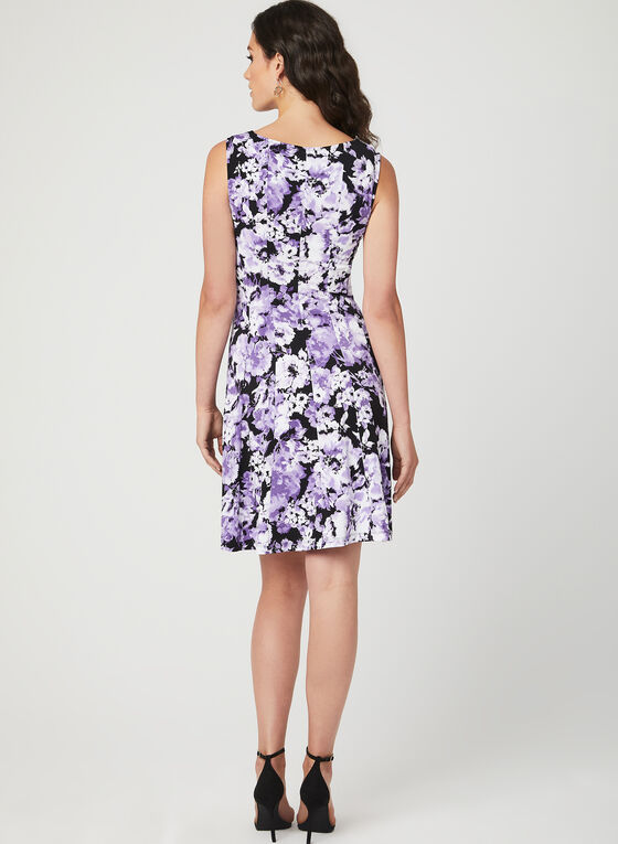 Fit & Flare Panelled Jersey Dress, Purple, hi-res