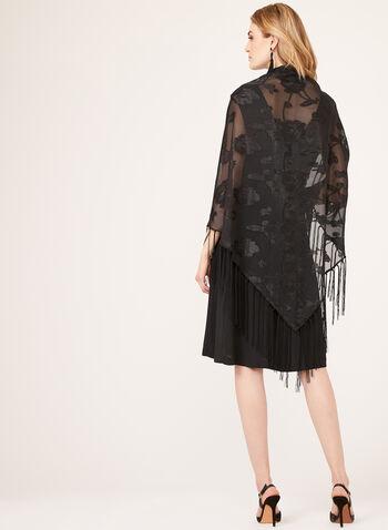 Foulard style pashmina à fleurs et franges, Noir, hi-res