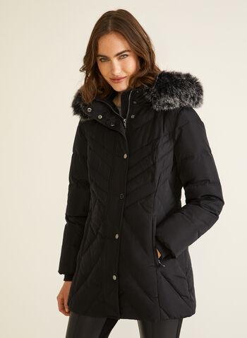 Manteau à capuchon en duvet mélangé, Noir,  automne hiver 2020, manteau, capuchon, fausse fourrure, duvet, col montant, hydrofuge, manteau d'hiver, plumes