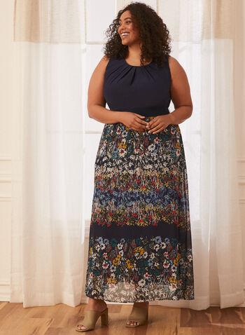 Floral Skirt Chiffon Maxi Dress, Blue,  floral print, maxi, dress, chiffon, day dress, gathered neckline, round neck, sleeveless, elastic belt, pleated, skirt, light, flowy, spring summer 2021