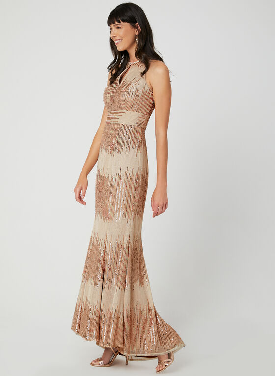 Sequin Sleeveless Dress, Off White, hi-res