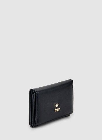 Detailed Charms Wallet, Black,  wallet, folded wallet, love, heart, charms, accessories, fall 2019, winter 2019