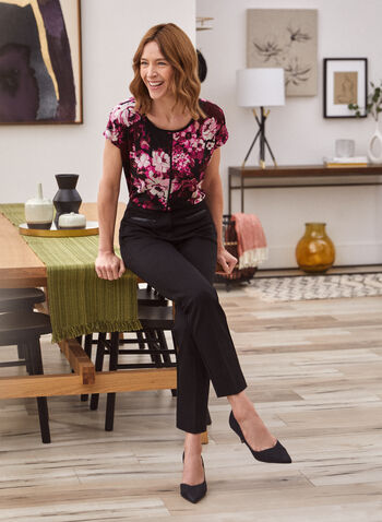 Floral Print Top, Black,  made in Canada, top, short sleeves, scoop neck, floral print, fall winter 2021