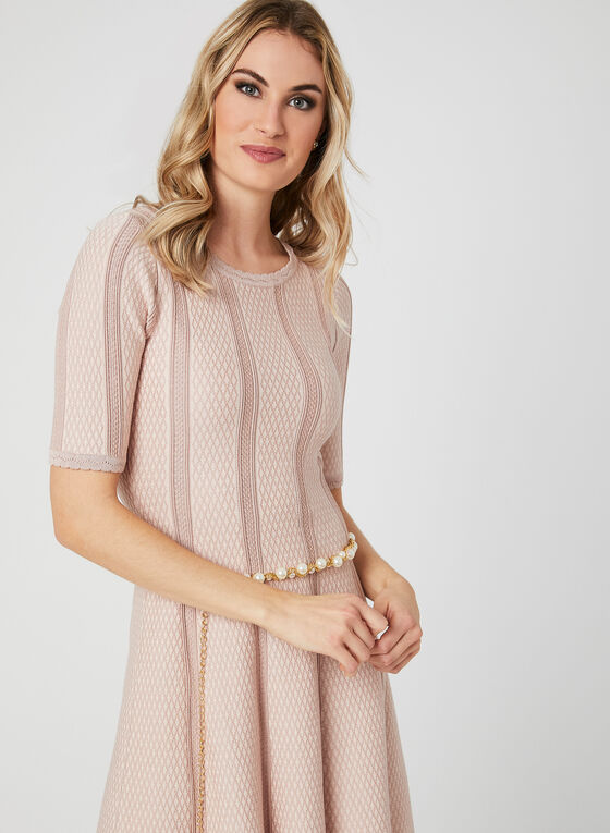 Knit Elbow Sleeve Dress, Pink, hi-res