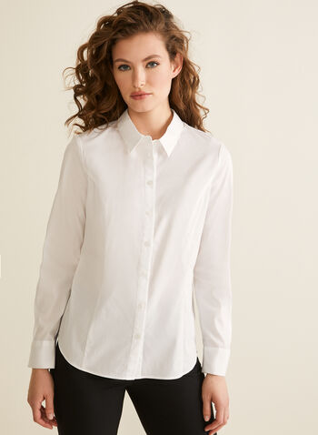 Collared Button Down Blouse, White,  shirt, blouse, button down, collared, long sleeves, stretchy, spring summer 2020