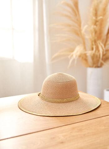 Wide Brim Straw Hat, Beige,  spring summer 2021, hat, wide brim, accessory, braided material, metallic, border, sun, beach, straw