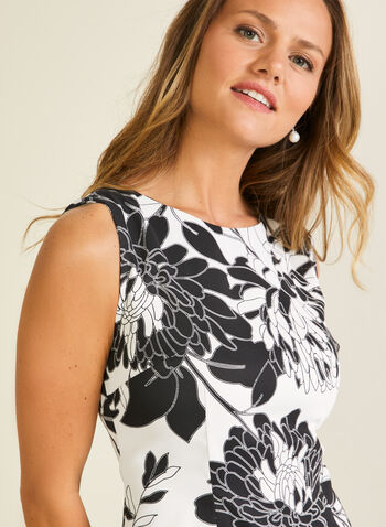 Robe fourreau motif floral, Noir,  robe de jour, sans manches, fourreau, fleurs, printemps été 2020
