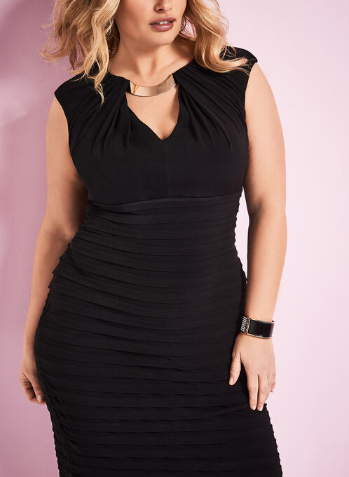 London Times - Jersey Shutter Tuck Dress, Black, hi-res