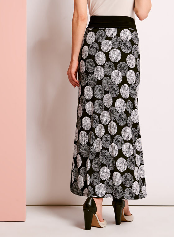 Graphic Dot Print Maxi Skirt, Black, hi-res
