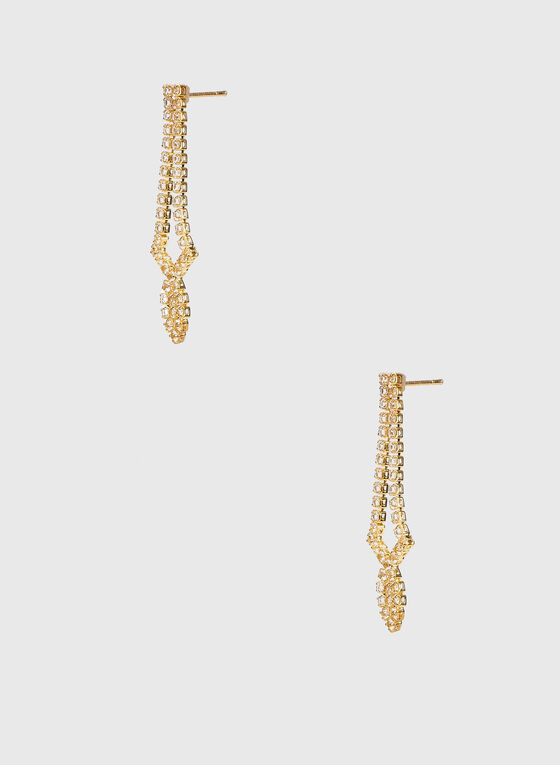 Boucles d'oreilles à pendant ajouré en cristaux, Or