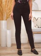 Rhinestone Detail Straight Leg Jeans, Black