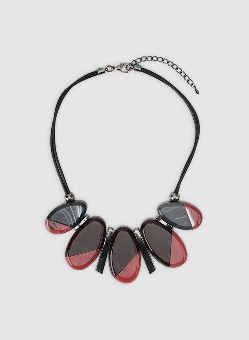 Short Oval Pendant Necklace, Black, hi-res