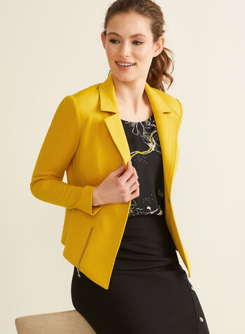 Topstitch Blazer, Yellow,  blazer, notch collar, long sleeves, topstitching, ponte de roma, shoulder pads, spring summer 2020