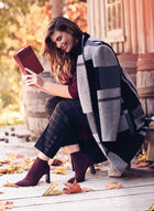 Patchwork Print Wool Blend Coat, Black