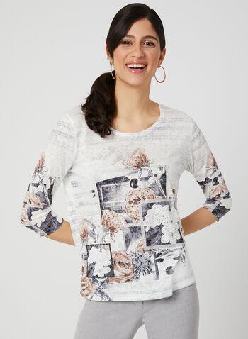Floral Print Burnout Top, Black,  3/4 sleeves, t-shirt, floral print, rhinestones, spring 2019
