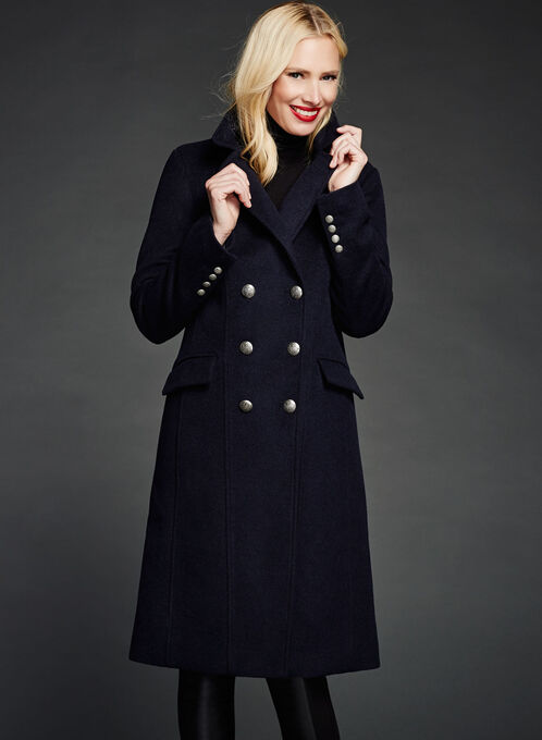 Double Breasted Wool Blend Coat, Blue, hi-res