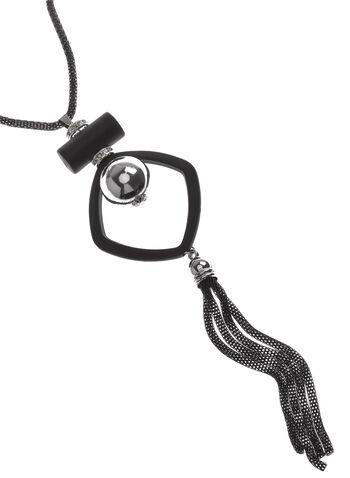 Collier sautoir pendentif géométrique et pompon, Noir, hi-res